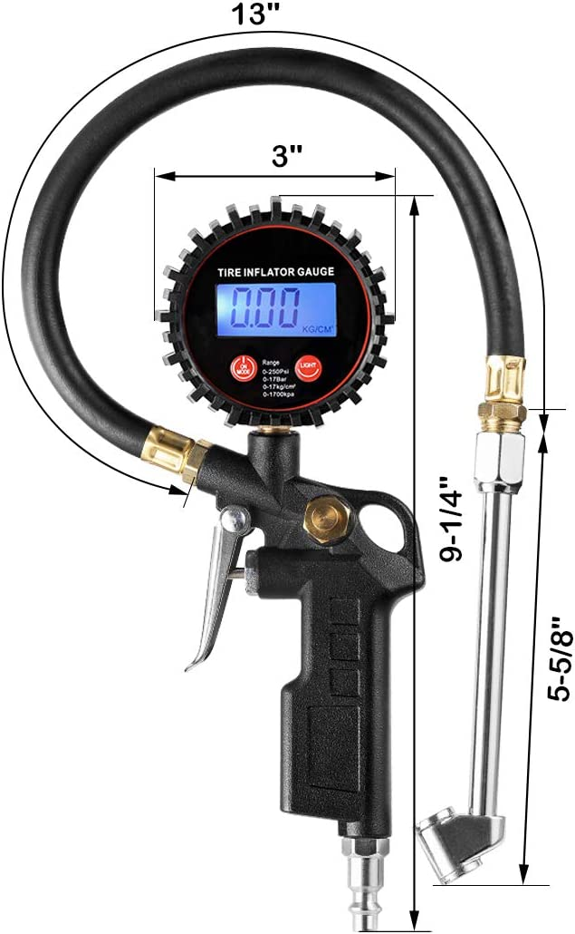 LED Display Tyre Deflator Gage with Dual Head Chuck Rubber Hose MNPT Fitting CZC AUTO Digital Tire Inflator Pressure Gauge Compatible with Air Pump Compressor for Truck Bus RV Car Motorcycle Bike