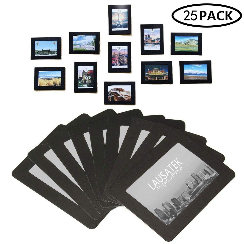 Lausatek Magnetic Picture Frame, Photo Collage for Refrigerator, Magnet Board Decor, Black, Holds 4x6, 3.5x5, 3x4, 2.5x3.5, 2X3 Inches Photos, 25 Pack by Lausatek