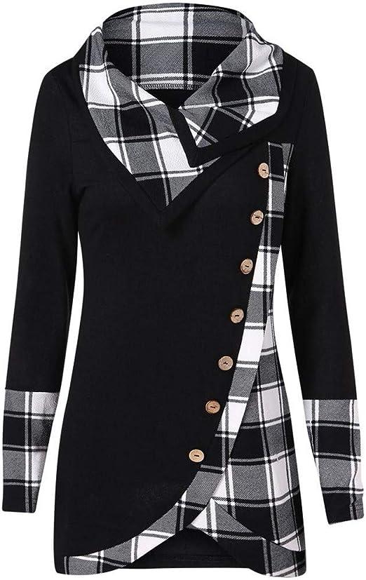 Asymmetrical Women Plaid Turtleneck Sweatshirt Hoodie Dress Pullover Coat Jacket