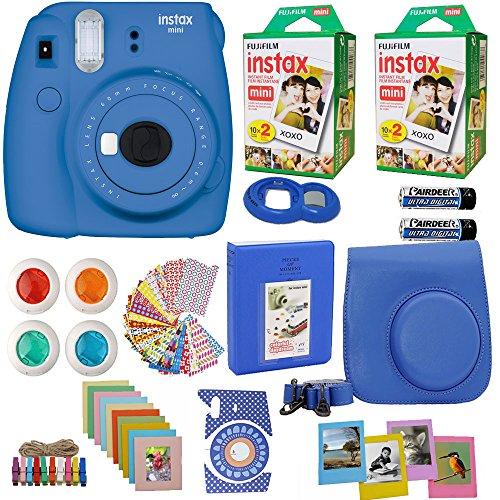Fujifilm Instax Mini 9 Instant Camera Cobalt Blue + 2X Fuji Instax Film Twin Pack (40PK) + Blue Camera Case + Frames + Photo Album + 4 Color Filters and More Top Accessories Bundle