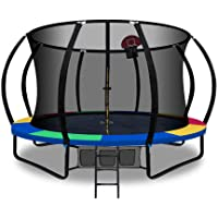 Trampoline 12FT with Safety Net Enclosure and Basketball Set – Everfit