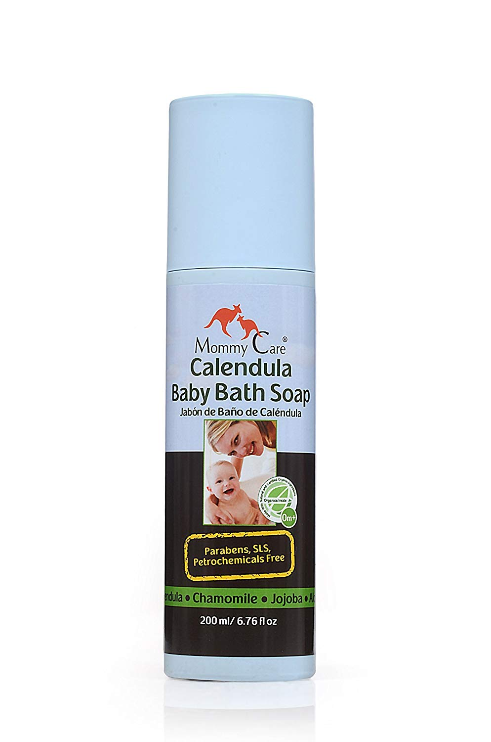 Certified Organic Calendula Baby Bath Soap 6.76 fl.oz 200ml Body Wash for Babies All Skin Types Great for Eczema and Dry Skin [SLS and Paraben Free] Mommy Care M11