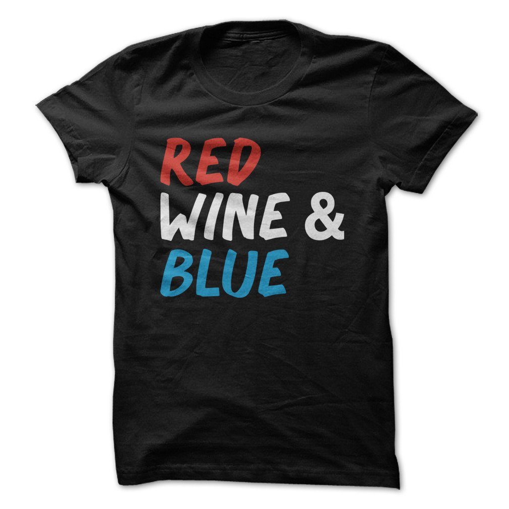 Red Wine & Blue Funny Tshirt Made On Demand In Usa