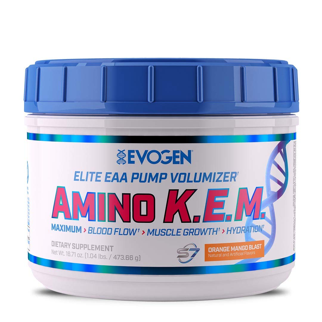 Evogen AminoKEM | Premium Essential Amino Acid, Nitric Oxide, Betaine anhydrous, S7, Recovery, volumizing, Pump Catalyst | Orange Mango by Evogen Nutrition
