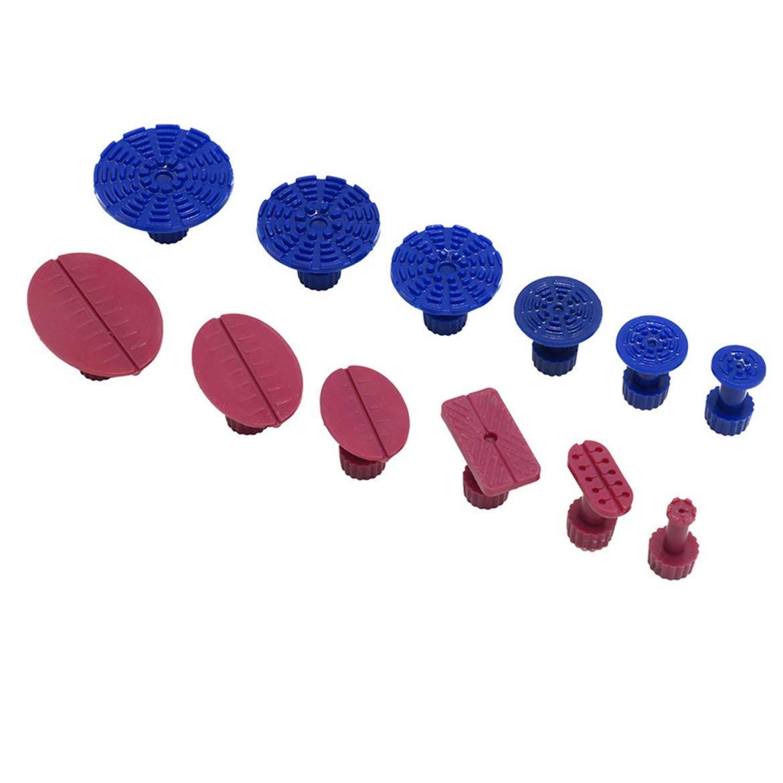 18PCS PDR pegamento aqu/í Kit de Herramientas para el coche de abolladura sin herramienta de reparaci/ón de Auto ventosas Puller aqu/í hundimiento herramienta de reparaci/ón de juntas rojo y azul 12