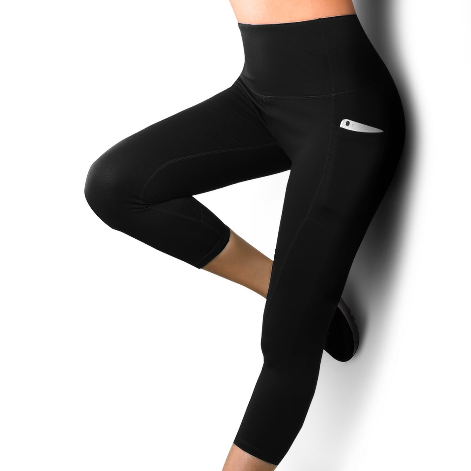 REIDAY High Waist Out Pocket Yoga Pants, Tummy Control, 3/4 Shapewear Leggings, Non See-Through Fabric, Running 4 Way Stretch