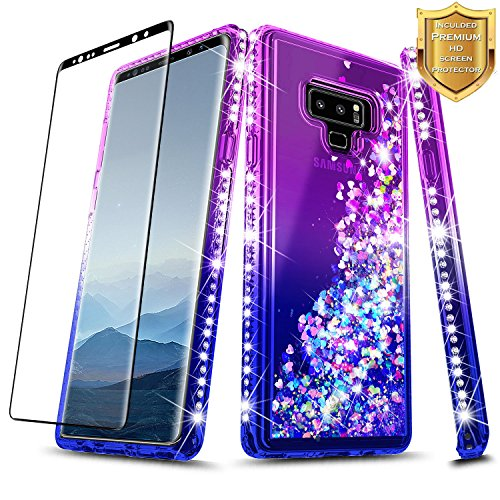 Note 9 Case, Galaxy Note 9 Glitter Case w/[Full Coverage Soft Screen Protector], NageBee Liquid Quicksand Waterfall Flowing Sparkle Bling Diamond Girls Cute Case for Samsung Galaxy Note 9 -Purple/Blue