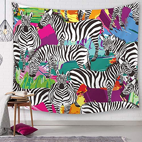 Tapestry Wall Hanging, Zebra On Colorful Background,Bohemian Hippie Indian Spiritual Minimalist Animal Painting Print Fabric,Large Size Art Decoration Cloth for Living Room Bedroom,200 × 150 cm