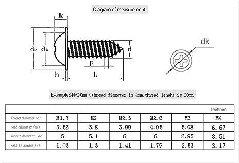 100 St/ück M2.3 * 5 * 6 Rundkopf aus Metall Selbstschneidende Schrauben Kreuzschlitzschraube DAZISEN 100 St/ück Edelstahlschraube