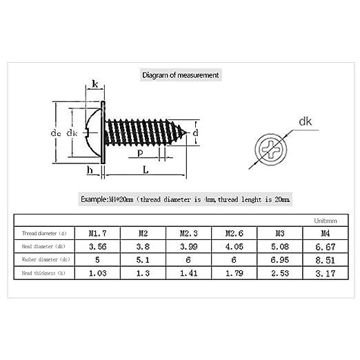 BOZEVON Self-Tapping Screw - Metal Washer Pan Head Screw Carbon