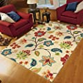 """Indoor/Outdoor Transitional Aria Collection Garden Chintz Ivory Olefin Area Rug (6'5"""" x 9'8""""). Stain Resistant, Latex Free Rectangle Floral Pattern Outdoor Area Rug"""
