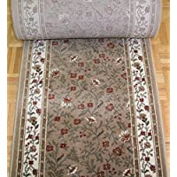 141675 - Rug Depot Radici Como 1593 Beige Traditional Hall and Stair Runner - 26 Wide Hallway Rug Runner - Custom Sizing - Beige Background - Choose Your Length - 26 x 16 feet