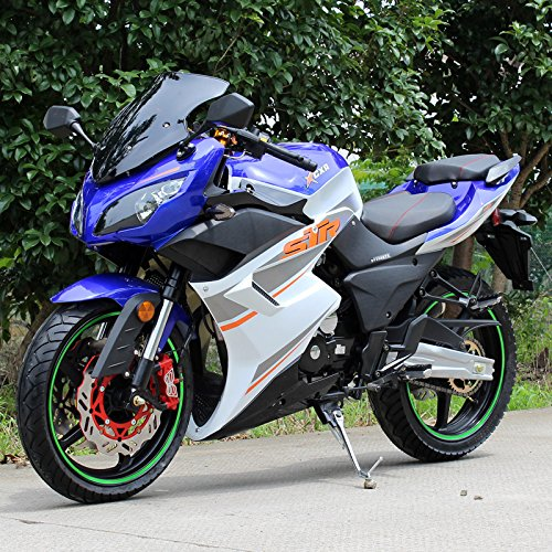MOTOR HQ DF250RTS Sports Style Street Motorcycle 250cc with 5-Speed Manual Transmission Blue