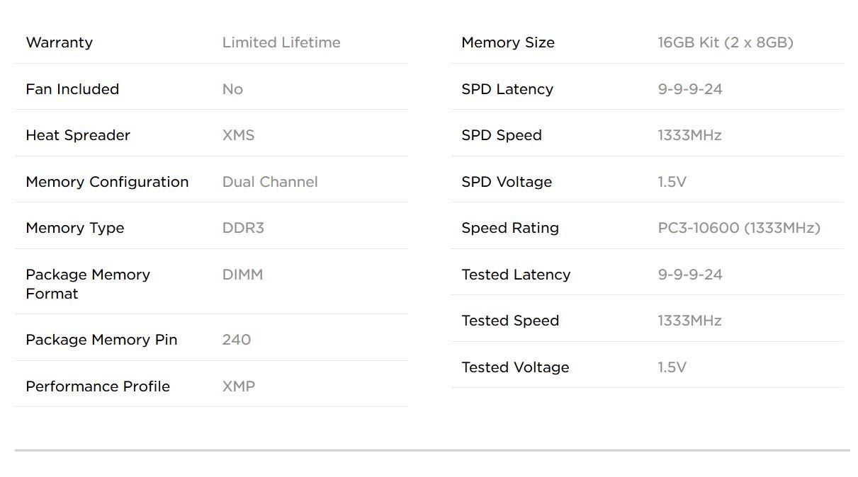 Corsair XMS3 16GB (2x8GB)  DDR3 1333 MHz (PC3 10666) Desktop Memory 1.5V