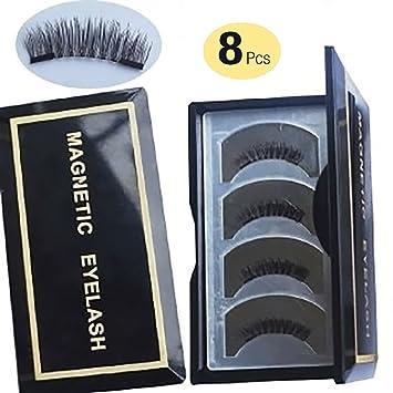 ae9465bd23e Amazon.com : 【Upgrade】Long Dual Magnetic False Eyelashes -Ultra Thin 3D  Fiber Reusable magnetic eyelashes (8 Pcs Long) : Beauty