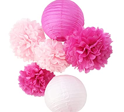 Amazon sunbeauty pack of 6 pink fuchsia paper lanterns tissue sunbeauty pack of 6 pink fuchsia paper lanterns tissue pom poms flower home party wedding valentines mightylinksfo