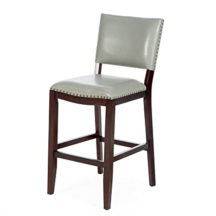 Light Gray Leather Bar Stool With Back 29u0026quot Seat Height Espresso Wood  Frame Nailhead Accents Leather Bar Stools With Back B74