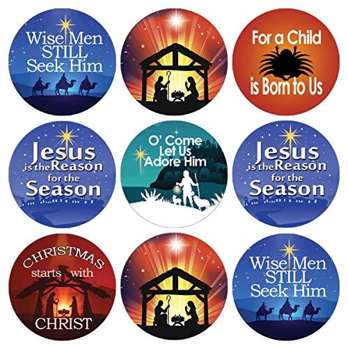 Religious Christmas Candy Favor Stickers | Christian Faith | 216 Count