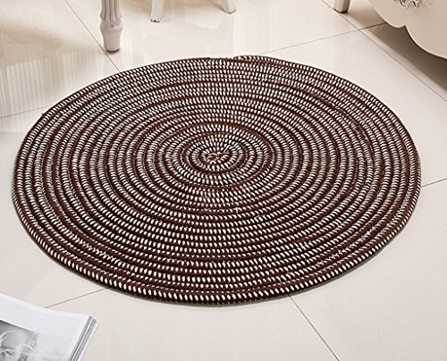 DDLANY Carpets Round, pillows, soft pad flesh computer series knitted carpets lounge night for the protection of 140 cm diameter (Color Brown, Size: diameter 60 cm) by DDLANY