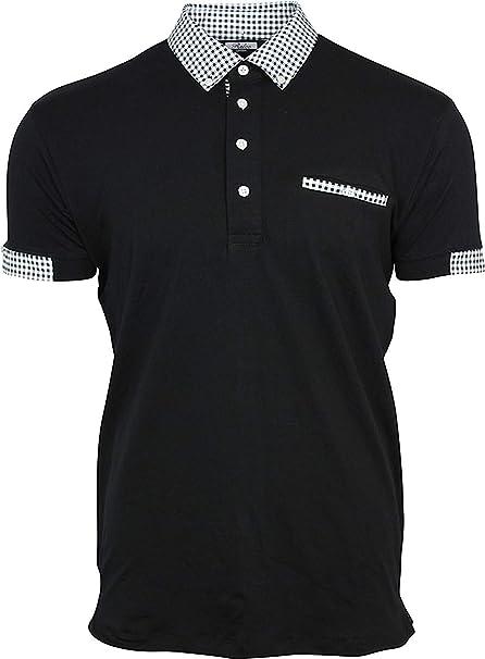 Relco Hombre Polo Camiseta Abotonado a Cuadros Cuello Mod Ska Piel ...