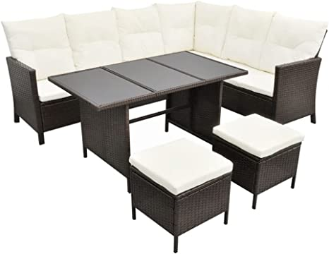 Poly Rattan Schwarz Lounge Sofa Sitzgruppe Gartenset vidaXL Gartenmöbel 3-tlg