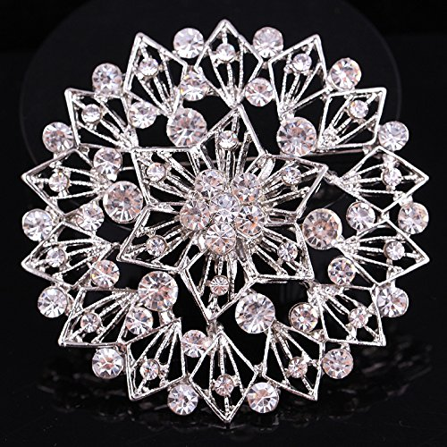 BeOne Brooches For Wedding Broches Fashion Vintage Women Rhinestone Brooch  Crystal Flowers Silver Brooches Pins
