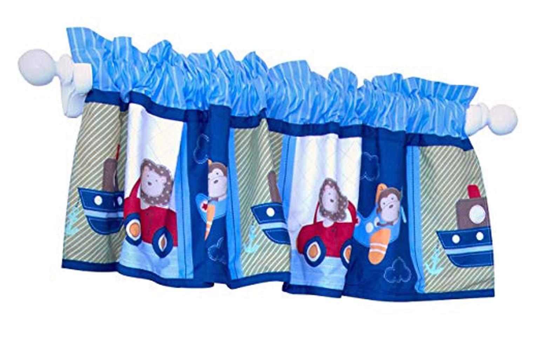 Nursery Room Decorative Window Valance Blue Plane Car Ship Baby Boy Nursery Room Window Curtain Gift Idea by CribMATE