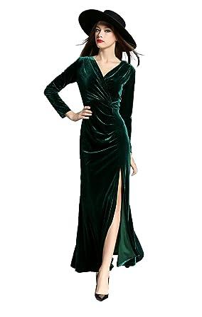Vinckey Womens V-neck Long Sleeve Velvet Wrap Split Evening Maxi Long Dress Green S