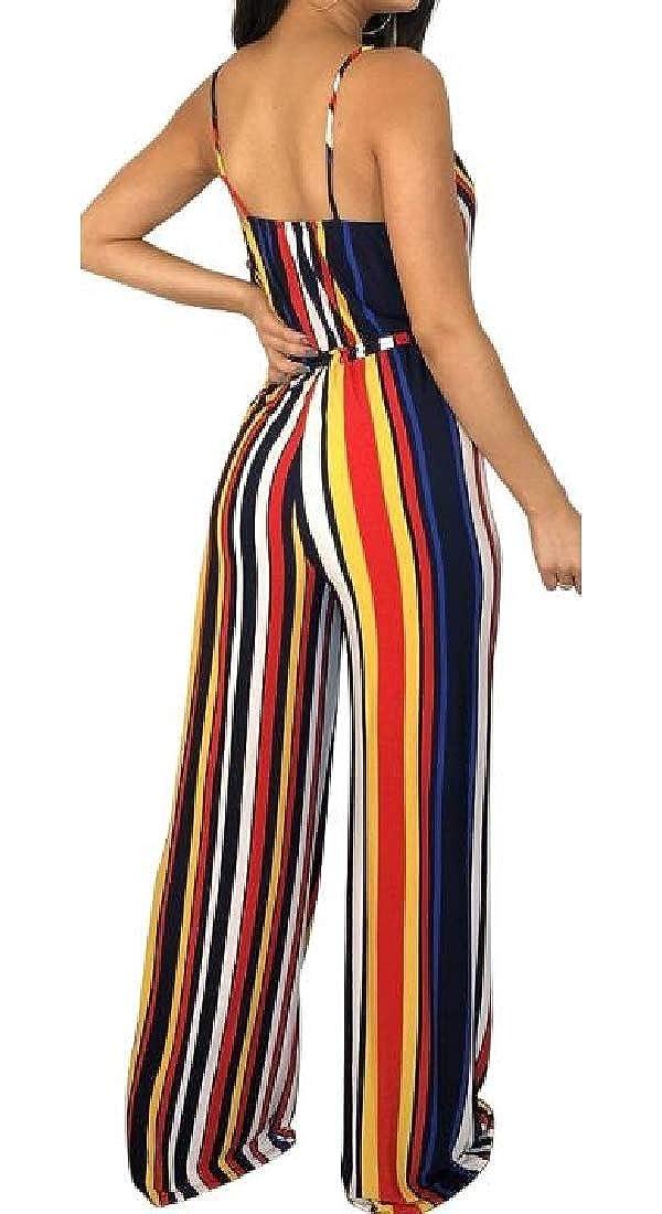 pipigo Womens Sleeveless V-Neck Striped Plain Wide Leg Rompers Jumpsuits