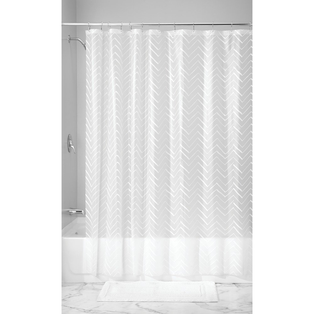 InterDesign Decorative PVC-Free PEVA 3-Gauge Shower Curtain Liner, 183 x 183 cm - Sketched Chevron, White 36880