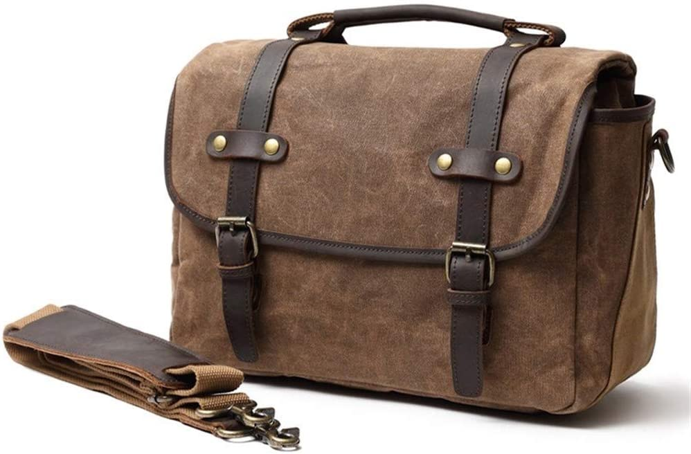 Color : Brown, Size : L Fashion DSLR Photograph Waterproof Waxed Canvas Messenger Camera Bag With Vintage Leather Strap leather