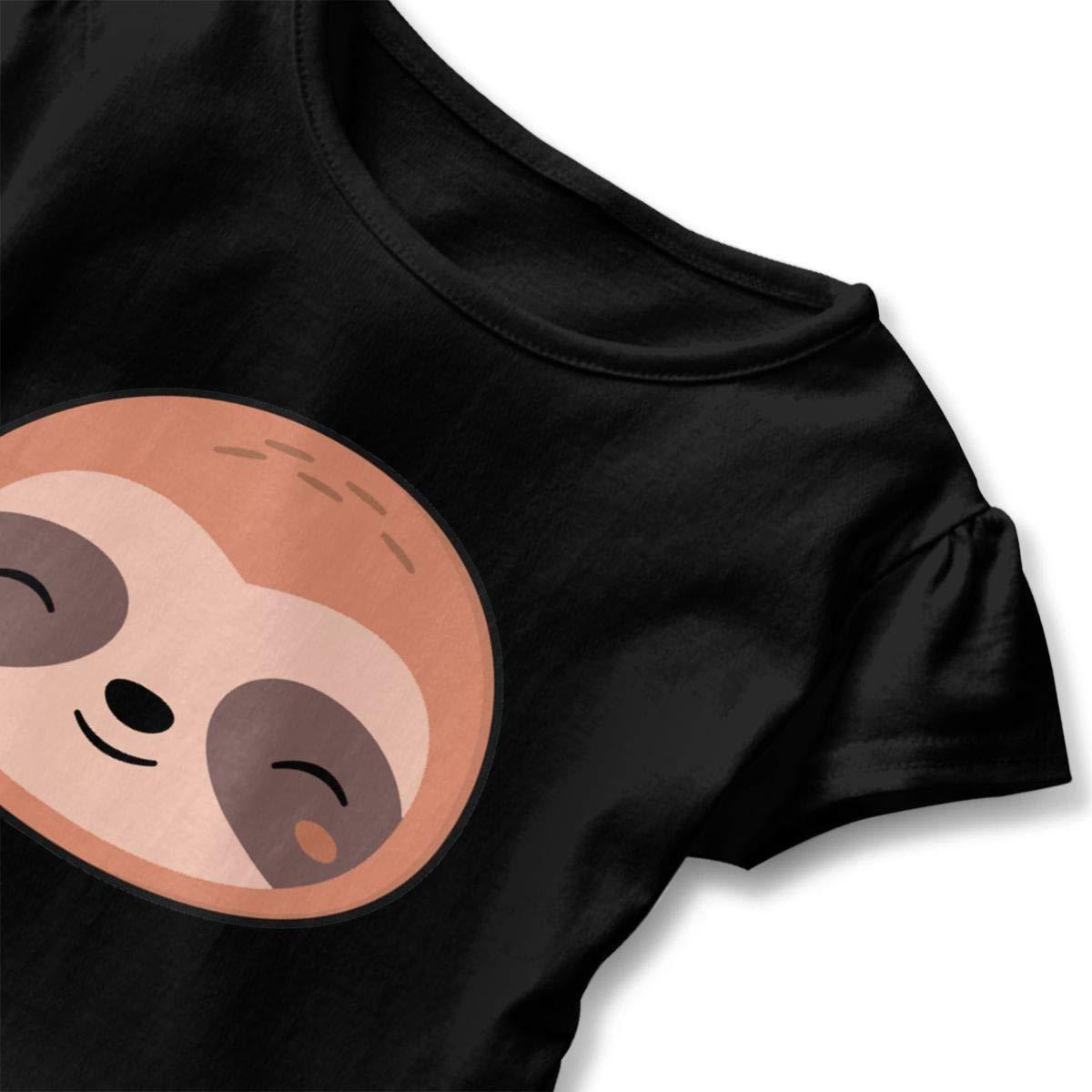 JVNSS Kawaii Cute Sloth Face Shirt Design Baby Girl Flounced T Shirts Shirt Dress for 2-6T Baby Girls