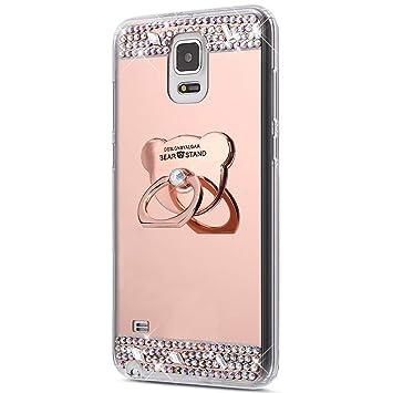 Funda Compatibles con Samsung Galaxy Note 4 Funda Brillante Brillo Carcasa Protectora [Trasera] de TPU con Anillo Soporte,360 Grados Giratorio Ring ...