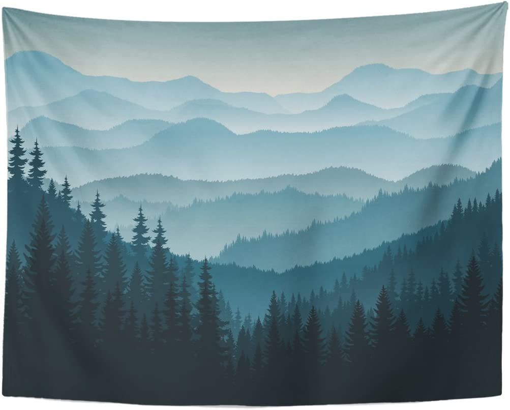 TOMPOP Tapestry Blue Forest Morning in Mountains Tree Pine Home Decor Wall Hanging Living Room Bedroom Dorm 60×80 inches