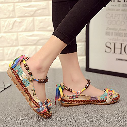 KHSKX-Handmade Beaded Folk Style Embroidered Shoes Flat Slip With The Flat Soft Bottom Shoes Mother Forty ca84iO90j