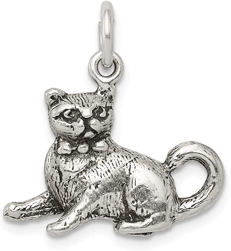925 Sterling Silver Solid Polished Cat Charm Pendant Necklace Jewelry Gifts for Women