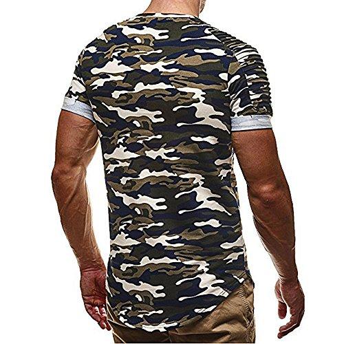 Camouflage Shirt Grande Ciellte Blouse Taille shirt Plissé Sport Impression Printemps Tee Manche Top Vert T Hommes Courte Été waYz6qqI