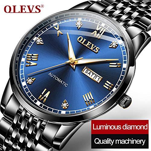 OLEVS Automatic Mechanical Watch,Day Date Automatic Watch Men,Self Wind Men s Luminous Waterproof Stainless Steel Watch Green Blue Black Face
