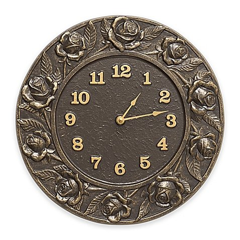 Whitehall Products Rose Clock in French Bronze by Whitehall
