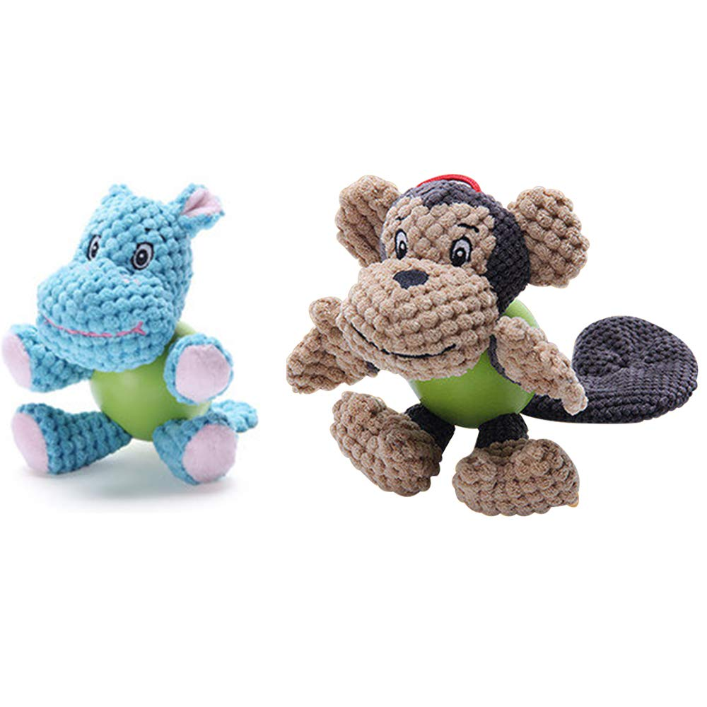 2PACK Squeaky Plush Dog Toy Cute Hippo Monkey Puppy Stuffed Chew Toys Cleaning Teeth Vocal Design for Small Medium Large Pets Dogs Puppy bluee Brown