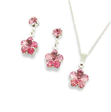 47238ba34 Pink Crystal Flower Pendant Set - Made Using Swarovski Crystals - Pink  Jewellery - Pink Jewellery Set - Gifts for Ladies - Bridesmaid's Gifts: LJ  Designs ...
