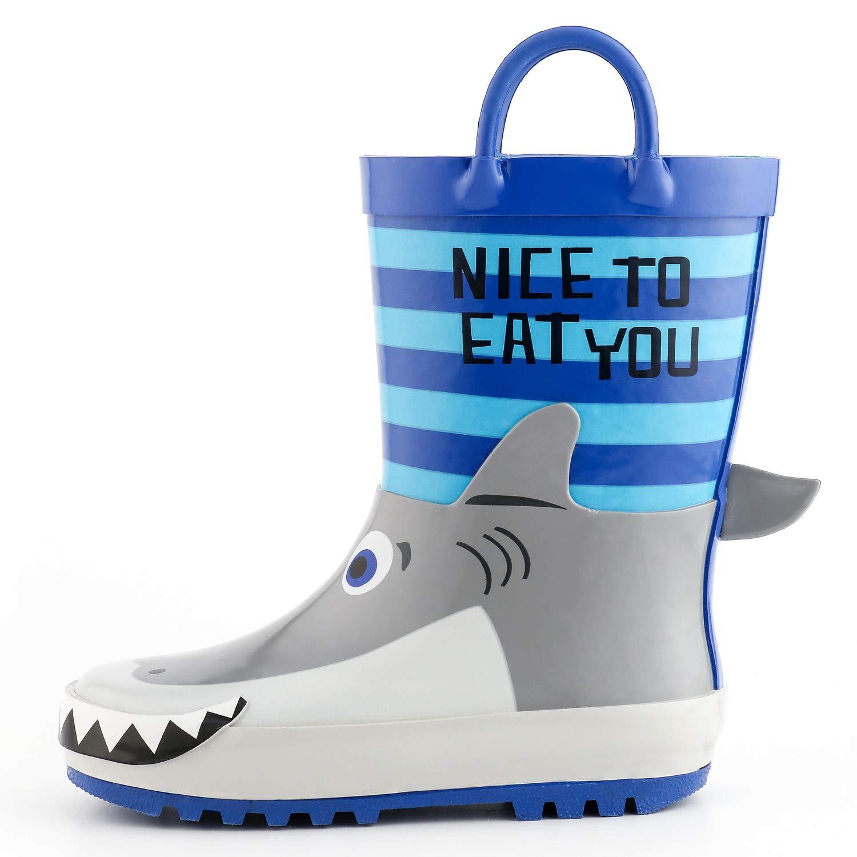 KomForme 3D Animal Kids Boy Rain Boots Blue Shark, 13 M US Little Kid