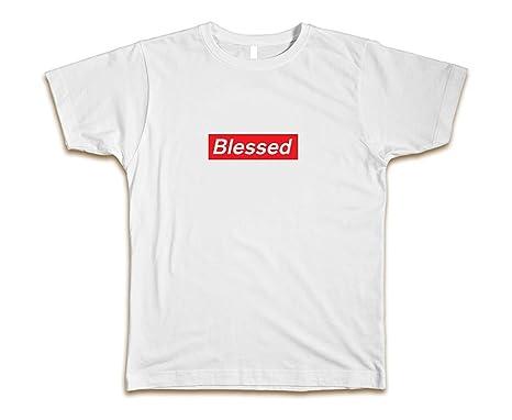7ac9eb45346f Amazon.com: CUSTOM Blessed Supreme Men's T-Shirt Tee New - White ...