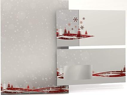 Briefpapier Weihnachten mit Umschlag NOBLESSE 25 Sets mit Fenster