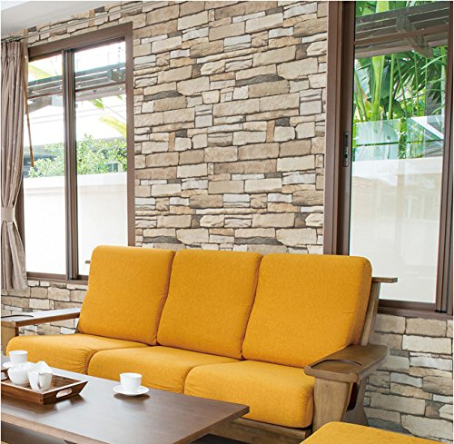 Natural Stacked Stone Brick Pattern Vinyl Contact Paper Self-adhesive Peel-stick Wallpaper