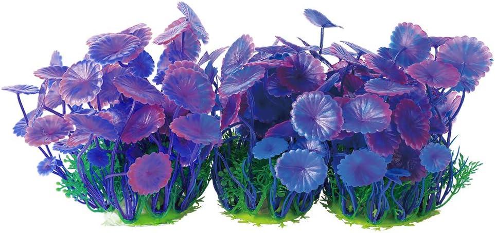 Aquarium Plants Fish Tank Decorations Small/Mini Plastic Artificial Plant Goldfish Waterscape Fish Hides Bushes (Purple Set)