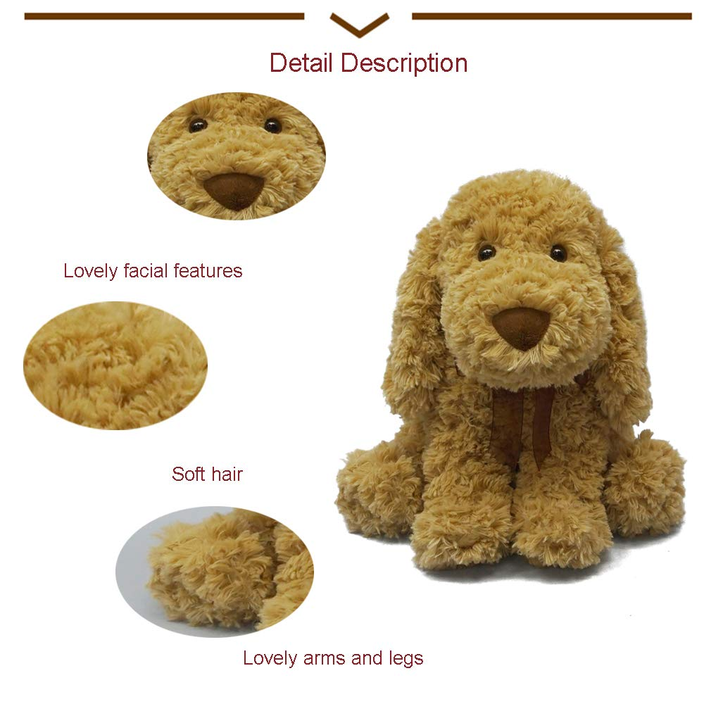 DORE Poodle Plush Animals Stuffed Dogs Flopsie Lovey Toy Light Blue Brown 11\'\'