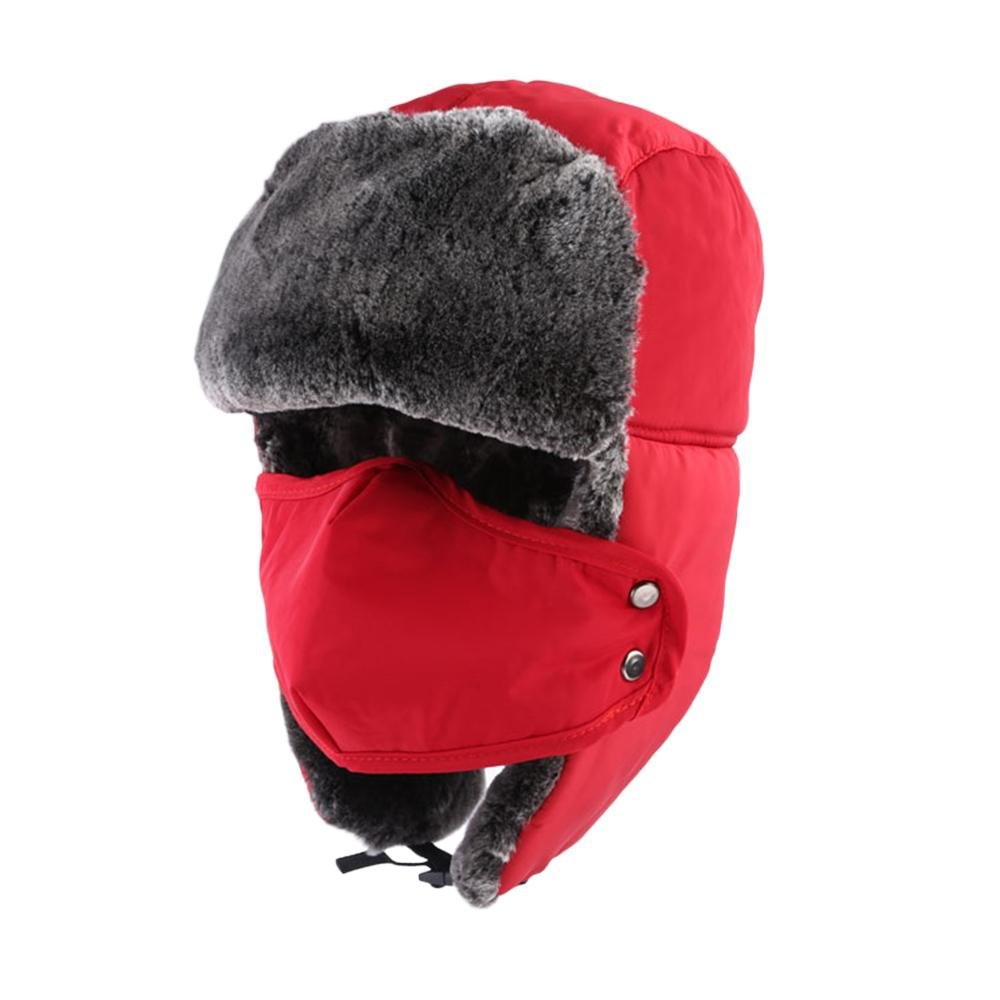 KOBWA Unisex Winter Trapper Hat Ushanka Trooper Bomber Cap with Ear Flap Chin Strap Mask for Skiing/ Hunting/ Outdoor Work- Red