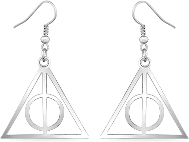 Harry Potter /& Deathly Hallows Stud Earrings In 14K Rose Gold Over Sterling Silver