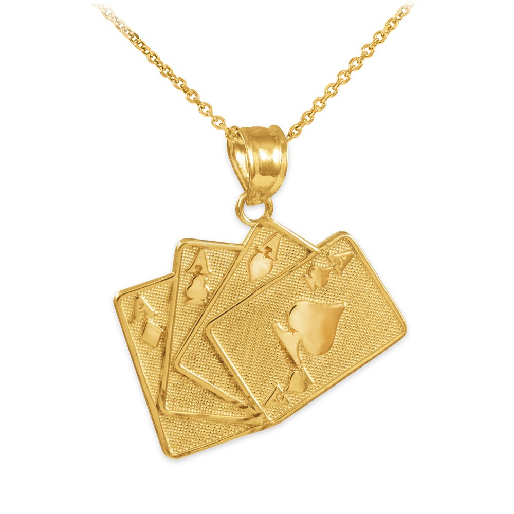 10k Gold Playing Cards Good Luck Charm Four of a Kind Pendant Necklace, 22''